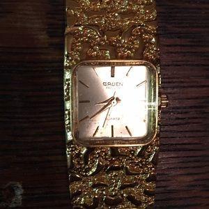 Vintage Gruen gold nugget quartz watch
